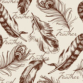 Vintage feather seamless pattern — Stock Vector