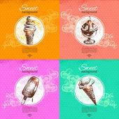 Set van vintage zoete achtergronden. de hand getekende illustratie. menu — Stockvector
