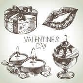 Set of Valentine's Day. Hand drawn illustrations — 图库矢量图片
