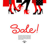 Shopping women. Sale design with beautiful girl silhouettes — Stockvektor