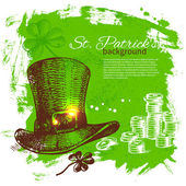 St. Patrick's Day background with hand drawn sketch illustrations — Stock Vector