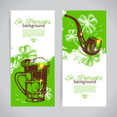 Set of St. Patrick's Day banners with hand drawn sketch illustrations — Stock Vector