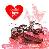 Valentine's Day vintage background — Stock Vector