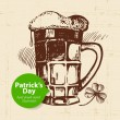 St. Patrick's Day background with hand drawn sketch illustration and bubble banner — Stock Vector #37486653
