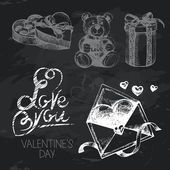 Valentine's Day hand drawn chalkboard design set — Stock Vector