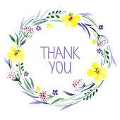 Gracias tarjeta con bouquet floral acuarela — Vector de stock