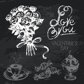 Valentine's Day hand drawn chalkboard design set — Stock Vector