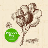 St. Patrick's Day background with hand drawn sketch illustration and bubble banner — Stock Vector