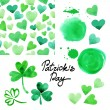 St. Patrick's day watercolor illustration set. — Stock Vector