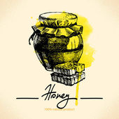 Honey background with hand drawn sketch — Wektor stockowy