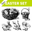 Easter set. Hand drawn sketch illustrations — Stock Vector #38941945