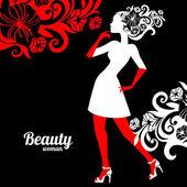 çiçekli güzel bir kadın silueti — Stok Vektör