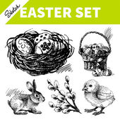 Easter set. Hand drawn sketch illustrations — Stock Vector