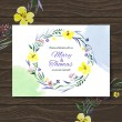 Stock Vector: Wedding invitation card with watercolor floral bouquet.