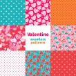 Stockvektor : Valentine seamless pattern set