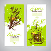 Set of vintage Easter banners — Stockvector