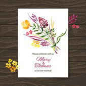 Wedding invitation card with watercolor floral bouquet — Stock Vector