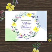 Wedding invitation card with watercolor floral bouquet. — Stock Vector