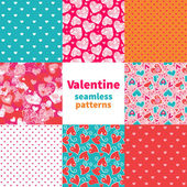 Valentine seamless pattern set — Vettoriale Stock