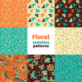 Abstract floral seamless pattern set — Stock Vector