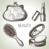 Beauty sketch icon set. — Stock Vector