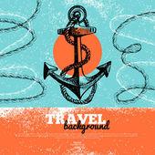 Antika arka plan seyahat. denizi gemicilik tasarım. — Stok Vektör