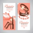 Set of beauty sketch banners. Cosmetic accessories — Stock Vector #41470581