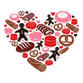 Candy heart. Set of sweet bakery icons — Stock Vector