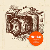 Vintage background with camera — Stock Vector