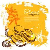 Set travel and holiday on yellow background — Stockvektor