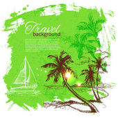 Set travel and holiday on green background — Stockvektor
