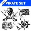 Sketch pirates set. Hand drawn illustrations — Stock Vector