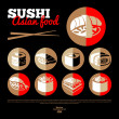 Japan sushi. Asian food. Flat icon set. — Stock Vector