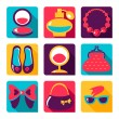 Flat icons. Set of woman fashion symbols — Stock Vector #43552889