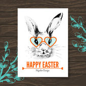 Easter card. Hipster sketch watercolor Easter rabbit. — Stock Vector