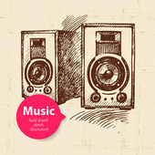 Vintage music background. Hand drawn sketch illustration	 — Vector de stock