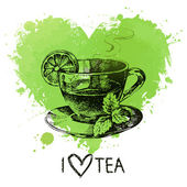 Tea background with splash watercolor heart and sketch — Vetorial Stock