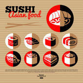 Japan sushi. Flat icon set. — Stock Vector