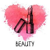 Beauty sketch background with splash watercolor heart — Stockvektor