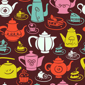Coffee and tea seamless pattern. — Vector de stock