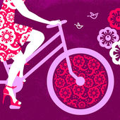 Silhouette of beautiful girl on bicycle  — Cтоковый вектор