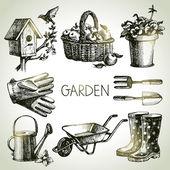 Sketch gardening set. Hand drawn design elements — Stock Vector