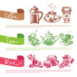 Vector set of coffee, tea and wine sketch illustrations — Stock Vector