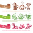 Vector set of coffee, tea and wine sketch illustrations — Stock Vector #45365839