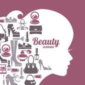 Fashion beautiful woman silhouette — Vector de stock