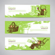 Set of sketch gardening banner templates — Stock Vector #45829317