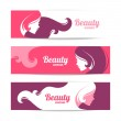 Banners with stylish beautiful woman silhouette — Stock Vector #45829409