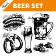Sketch Oktoberfest set of beer — Stock Vector