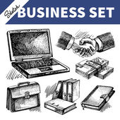 Skizze-business-set — Stockvektor