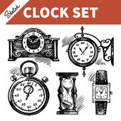 Ručně tažené skica sada hodiny a hodinky — Stock vektor